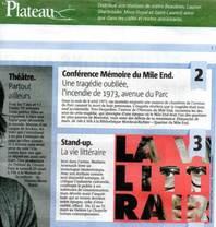 Journal Le Plateau dans le Journal Métro le 24 mars 2017